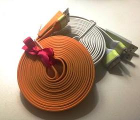 iPhone Charger XXL - Glow in the Dark 10 ft Long Orange iPhone 4/4s Charger w/ Flat iPhone Cable