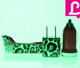 Glow in the Dark iPhone Charger - Cheetah Leopard Glow in the Dark Flat Noodle iPhone Charger (Hot Pink)