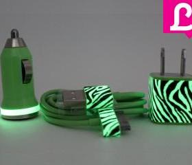 iPhone 4/4s Charger - Zebra Glow in the Dark iPhone Charger (Green)