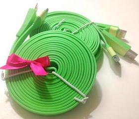 iPhone 4/4s Charger XXL - 10 ft Long Flat Noodle iPhone Charger (Green)
