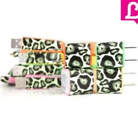 iPhone 4/4s Charger - Cheetah Leopard Glow in the Dark Flat Noodle iPhone Charger (Summer Collection)