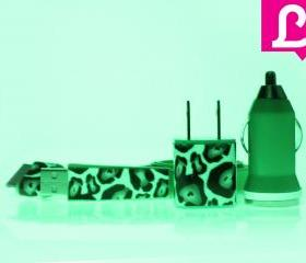 Glow in the Dark iPhone Charger - Cheetah Leopard Glow in the Dark Flat Noodle iPhone Charger (Green)