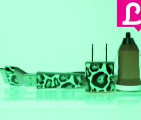 iPhone Charger - Cheetah Leopard Glow in the Dark Pink iPhone 4 4s Charger w/ Flat iPhone Cable