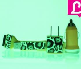 Glow in the Dark iPhone Charger - Cheetah Leopard Glow in the Dark Yellow iPhone 4 4s Charger w/ Flat iPhone Cable