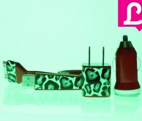 Glow in the Dark iPhone Charger - Cheetah Leopard Glow in the Dark Red iPhone 4 4s Charger w/ Flat iPhone Cable