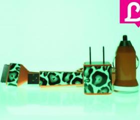 Glow in the Dark iPhone Charger - 3-in-1 Cheetah Leopard Glow in the Dark Orange iPhone 4 4s Charger w/ Flat iPhone Cable