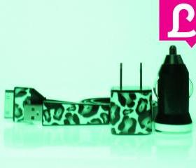 Glow in the Dark iPhone Charger - 3-in-1 Cheetah Leopard Glow in the Dark iPhone 4 4s Charger w/ Flat iPhone Cable