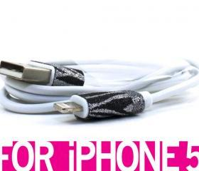 Zebra Print Glitter iPhone 5 cable