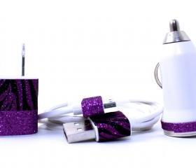iPhone Charger - Zebra and Purple Glitter wall and car charger