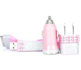 Glamour Pink iphone charger set - also compatible with ipod and ipad