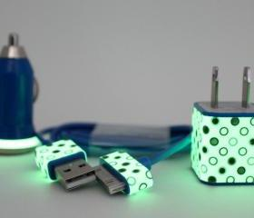 Polka Dot Glow in the Dark iPhone charger set - Wall & car charger compatible with iPhone 5