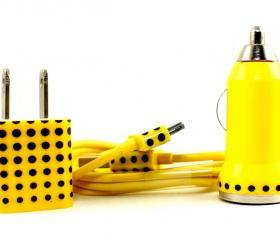 Yellow charger with polka dot design - iphone charger set