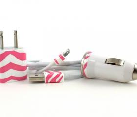 Candy Pink Zebra print iPhone car charger, wall adapter and cable