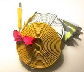 Yellow 10 Ft Long Glow in the Dark iPhone Charger