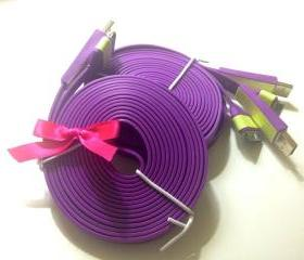 Purple Violet 10 Ft Long Glow in the Dark iPhone Charger