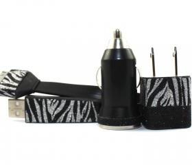 Glitter Zebra Print and Black iPhone Charger