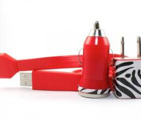 Zebra Print Red iPhone Charger - Extra Long 10 Feet Flat Cable