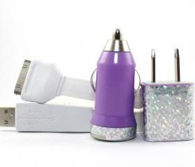 An Ode to Jem & the Hologram Purple and White iPhone Charger - Extra Long 10 feet cable