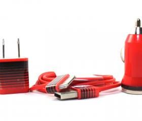 Red & Black Stripes iPhone Charger