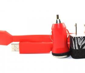 Red iPhone Charger with Black and Silver Zebra Trim