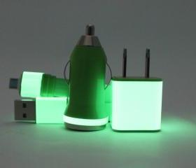 Glow in the Dark Green Mobile Phone Charger for Android - Samsung - HTC - Sony - Motorola - Micro USB