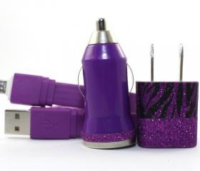 Glitter Zebra Print and Black Mobile Phone Charger for Android Devices - Samsung, HTC, Sony, etc