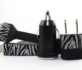 Glitter Zebra Print and Black iPhone Charger - Extra Long - 10 feet cable