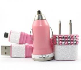 Glamour Pink Mobile Phone Charger for Android Devices - S3, Samsung, Galaxy, Blackberry