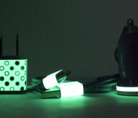 Glow in the Dark Purple iPhone Charger with Polka Dot Trim