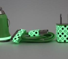 iPhone Travel / Car Charger & Wall Adapter in Green Polka Dot Print Trim