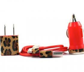 Cheetah Print Red iPhone Charger