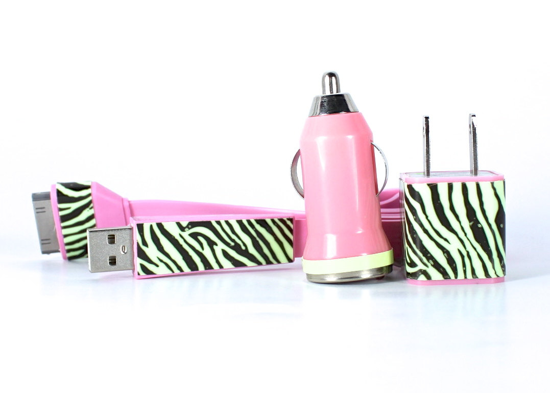 Iphone 4 4s Charger Zebra Glow In The Dark Flat Noodle